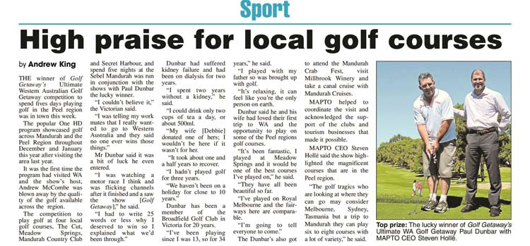 Mandurah Peel Golf Competition Winner